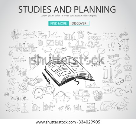 Studies and Planning concept with Doodle design style :finding solution, brainstorming, creative thinking. Modern style illustration for web banners, brochure and flyers. - stock vector