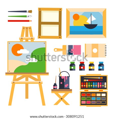 creative furniture icons set flat design. creative furniture icons set flat design studio drawing tools to the process t