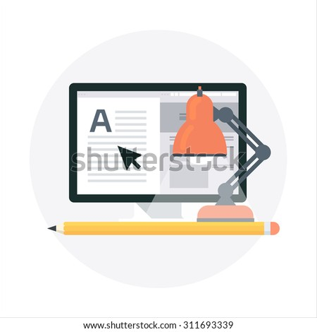 Studio, freelance flat style, colorful, vector icon for info graphics, websites, mobile and print media. - stock vector