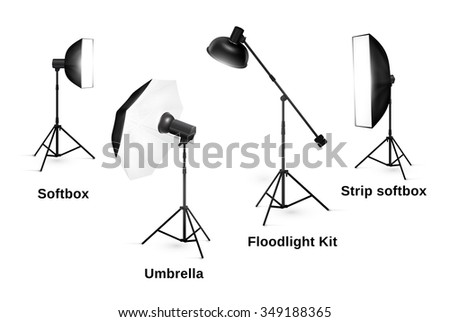 Studio lighting equipment isolated on white background. Spotlight and lamp, flash and professional technology photographic, vector illustration - stock vector