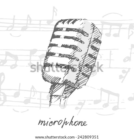 Studio microphone and music notes. Sketch. Vector illustration. - stock vector