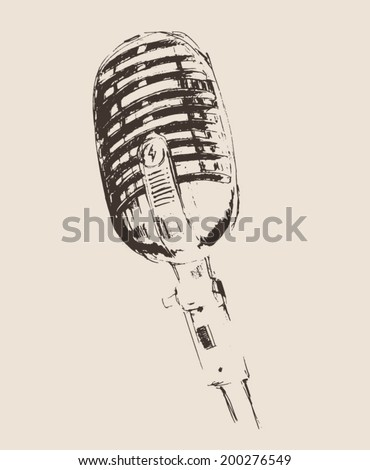 studio microphone vintage illustration, engraved retro style, hand drawn, sketch - stock vector