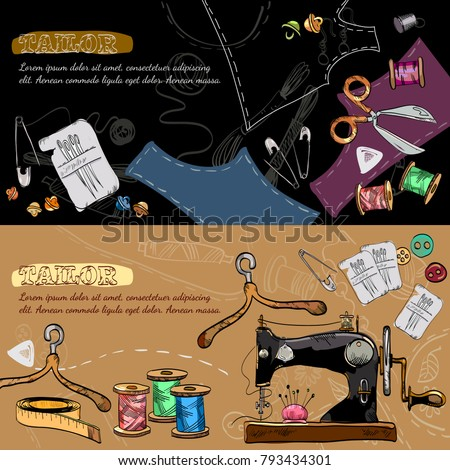 Studio on tailoring tools seamstress fashion designer needlework sewing machine hand drawn vector illustration. Tailor banners vector