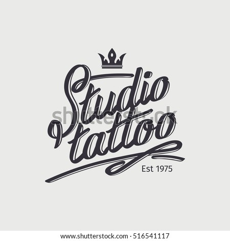 Studio Tattoo Retro Logo Template With Crown Vector Illustration