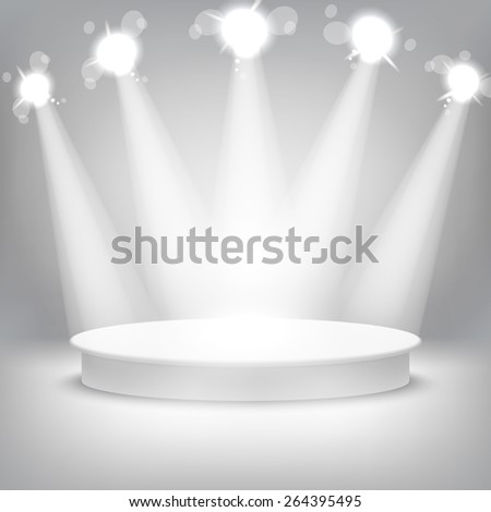 Studio with a podium and spotlights vector grey show light art