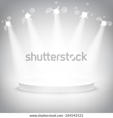 Studio with a podium and spotlights vector grey show light art - stock vector