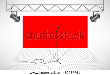 studio with isolated microphone - stock vector