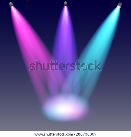 Studio with spotlights. Vector illustration. - stock vector
