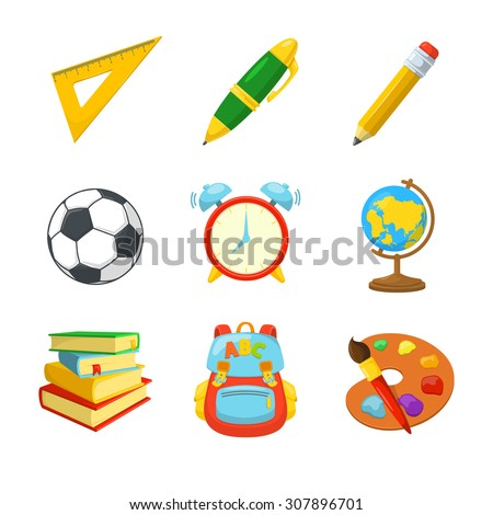 Study symbols. Various classroom items. School year beginning. Education design elements.  - stock vector