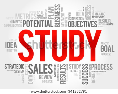 Study word cloud, business concept - stock vector