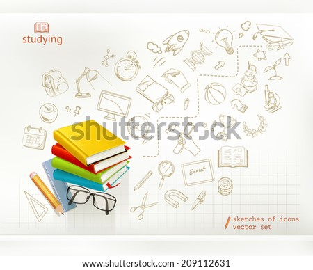 Studying and education infographics vector - stock vector