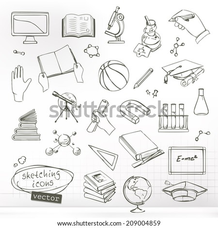 Studying and education, sketches of icons vector set - stock vector