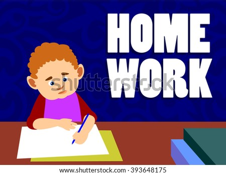 Studying confused boy sitting on table. Vector Illustration. - stock vector