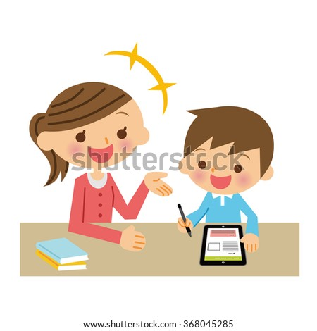 Studying in the tablet. - stock vector