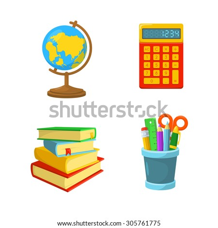 Studying symbols. Stuff for various classes. Education design elements.  - stock vector