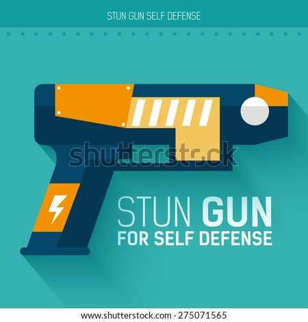 Stun gun for self defense. Vector icon illustration background. Colorful template for you design, web and mobile applications concept - stock vector
