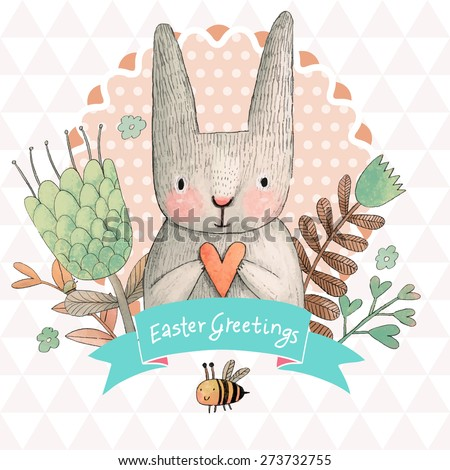 Stunning card with cute Rabbit and small bee in summer flowers. Awesome background made in watercolor technique. Bright easter concept card with text in ribbon in vector - stock vector