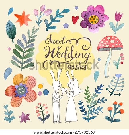 Stunning card with cute Rabbits, flowers, leafs and mushroom in awesome colors. Lovely forest theme set made in watercolor technique. Bright wedding concept card with text in vector - stock vector