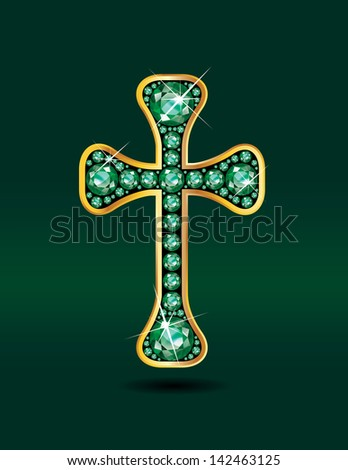 Stunning Christian Cross symbol with emerald precious stones embedded into a gold channel setting. Vector EPS-10 file.