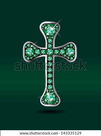 Stunning Christian Cross symbol with emerald precious stones embedded into a sterling silver channel setting. Vector EPS-10 file.