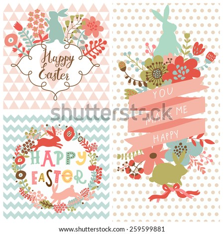 Stunning Easter concept set in vector. Bright holiday rabbits and flowers in cartoon style. Three sweet holiday cards - stock vector