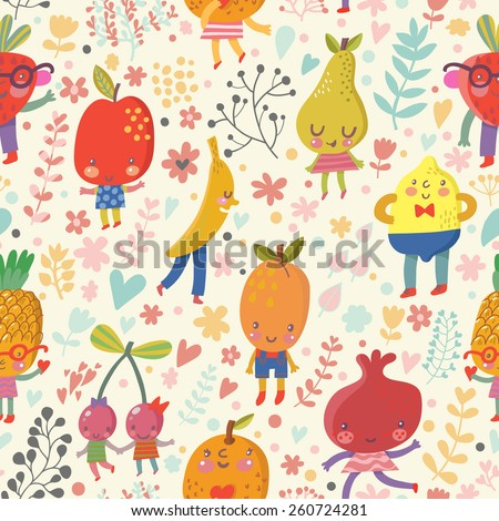 Stunning fruit background in bright summer colors. Tasty concept wallpaper with funny cartoon fruits: pineapple, banana, cherry, orange, pomegranate, lemon, pear, strawberry, apricot, apple in vector - stock vector