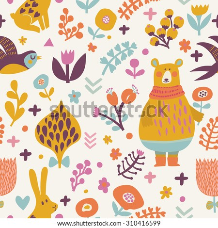 Stunning seamless pattern with birds swallows, rabbits, bear and leafs with flowers. Lovely floral background with cute animals and birds in bright colors in vector - stock vector