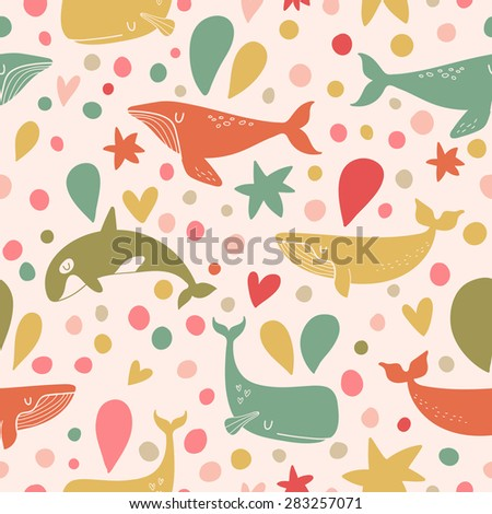 Stunning seamless pattern with cute whales in bright vintage colors. Sweet underwater concept background in vector - stock vector