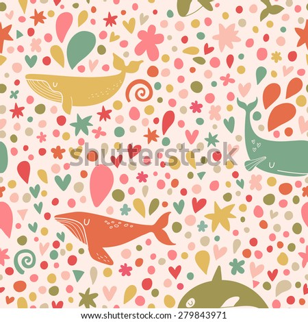 Stunning seamless pattern with stylish whales in bright colors. Sweet underwater concept background in vector - stock vector
