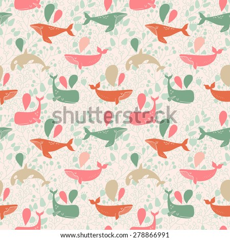 Stunning underwater concept seamless pattern in awesome colors. Lovely whales for modern designs in vector - stock vector