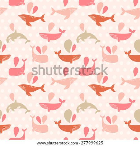 Stunning underwater concept seamless pattern in awesome pink colors. Lovely whales for modern designs in vector - stock vector