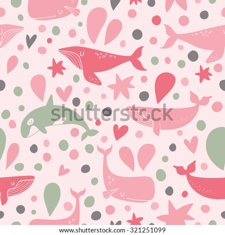 Stunning underwater concept seamless pattern in awesome pink colors. Stylish whales for modern designs in vector - stock vector
