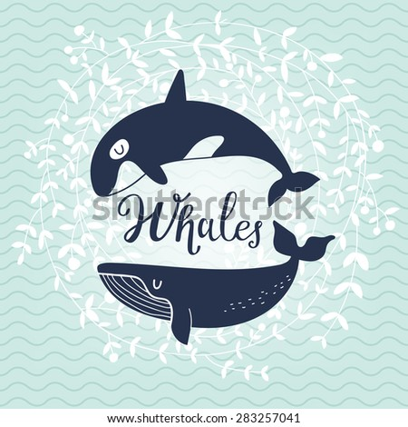 Stunning whale card. Awesome whales on stylish blue colored background with floral wreath in vector. Lovely childish card in stylish colors - stock vector