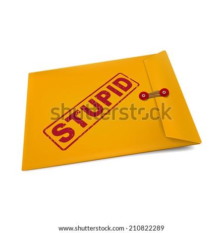 stupid stamp on manila envelope isolated on white - stock vector