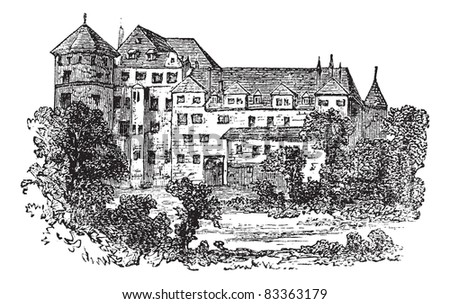 Stuttgart, the former palace, vintage engraved illustration. Trousset encyclopedia (1886 - 1891). - stock vector