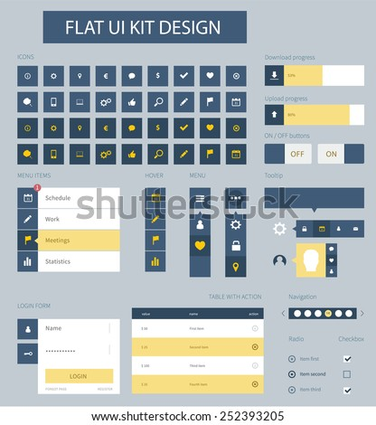 Style flat ui kit design elements for web design with cool menu. Flat icons login, iu kit, chat box, input and menu bar. Every element for webdesign template. - stock vector