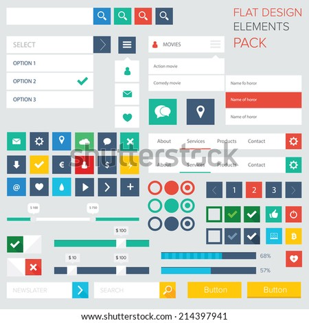 Style flat ui kit design elements for web design with drop down menu. Flat icons with menu, turn on and turn off button, progress bars, input and menu bar / Flat ui kit design elements for webdesign - stock vector