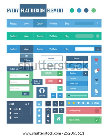 Style flat ui kit design elements for web design with drop down menu. Flat icons with menu, turn on and turn off button, chat box, input and menu bar. Every element for webdesign. - stock vector