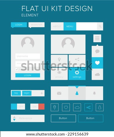 Style flat ui kit design elements for web design with login menu. Flat icons with menu, turn on and turn off button, user menu. / Flat ui kit design elements set for webdesign - stock vector
