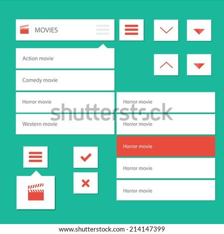 Style flat ui kit design menu bar for movie web design with drop down menu and icons / Flat ui kit design menu bar for movie website - stock vector