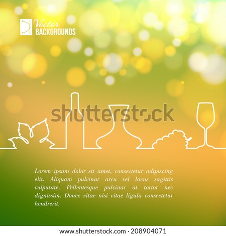 Style line design of vine glass, bottle and grapes. Vector illustration. - stock vector