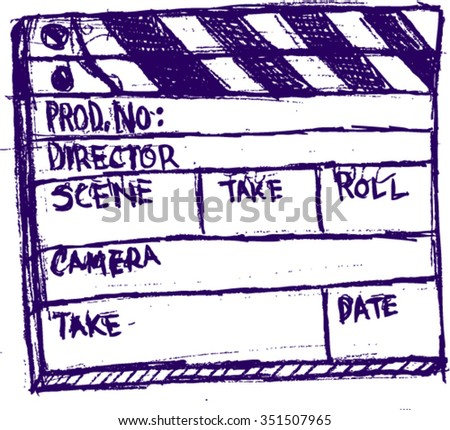 style movie set clapperboard, sketch - stock vector