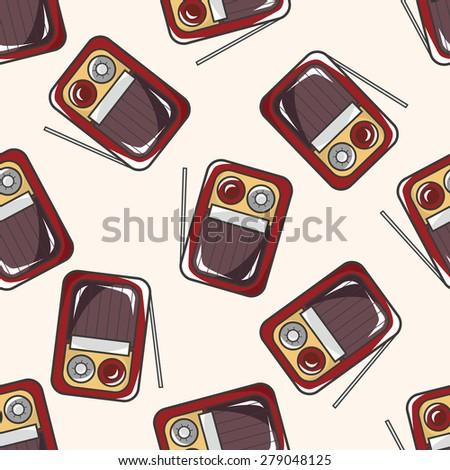 style radio , cartoon seamless pattern background - stock vector