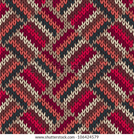 Style Seamless Red Blue Green White Pink Color Knitted Pattern from my large Collection of Samples of knitted Fabrics - stock vector