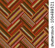 Style Seamless Red Orange Green White Brown Color Knitted Pattern from my large Collection of Samples of knitted Fabrics - stock photo