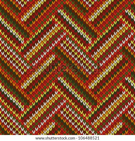 Style Seamless Red Orange Green White Brown Color Knitted Pattern from my large Collection of Samples of knitted Fabrics - stock vector