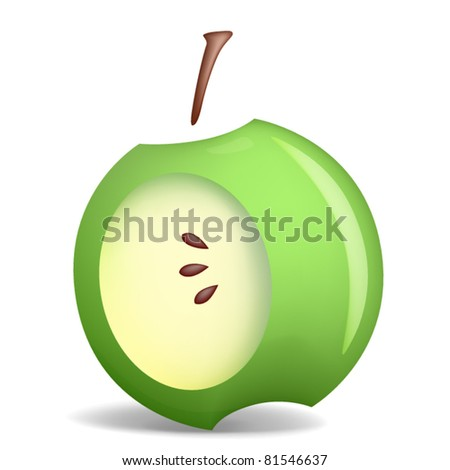 Styled green apple isolated on white, vector