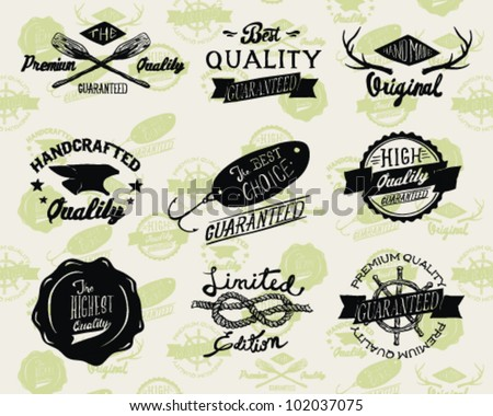 Styled Premium Quality and Satisfaction Guarantee Label collection with black grungy design - stock vector