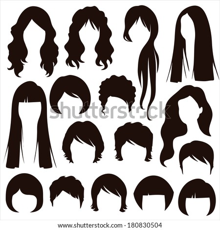 Styles Hair Silhouettes Woman Hairstyle Stock Vector 180830504 Shutterstock