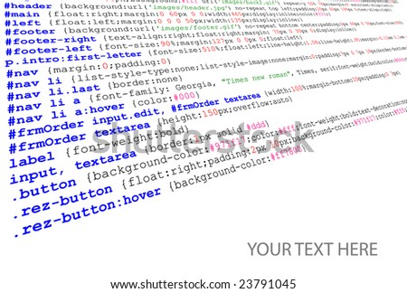 Stylesheet source code listing - technology background - stock vector